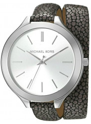 Michael Kors Women's Slim Runway Silver Dial Double Warp Watch MK2475