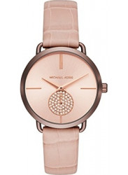 Micheal Kors Portia Women's Rose Gold Dial Pink Calfskin Leather Watch MK2721