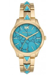 Michael Kors Women's Runway Mercer Turquoise Dial Gold Stainless Steel Watch MK6670