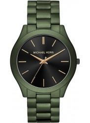 Michael Kors Men's Slim Runway Black Dial Olive Stainless Steel Watch MK8715
