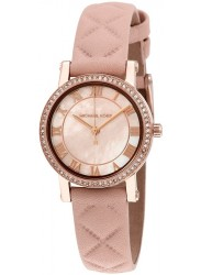 Michael Kors Women's Petite Norie Pink Mother of Pearl Dial Pink Leather Watch MK2683