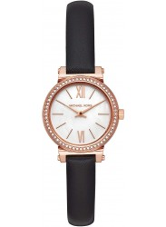 Michael Kors Women's Petite Sofie Mother of Pearl Dial Black Leather Watch MK2849
