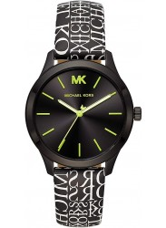 Michael Kors Women's Runway Black Dial Black Text Leather Watch MK2847