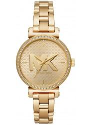 Michael Kors Women's Sofie Gold Logo Dial Gold Stainless Steel Watch MK4334