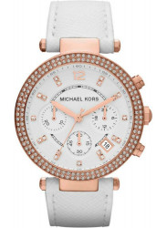 Michael Kors Women's Parker Chronograph White Dial Rose Gold-Tone Watch MK2281