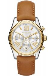 Michael Kors Women's Lexington Chronograph Silver Dial Brown Leather Watch MK2420