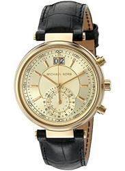 Michael Kors Women's Sawyer Black Leather Watch MK2433