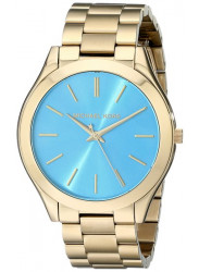 Michael Kors Women's Slim Runway Blue Dial Gold Tone Watch MK3265