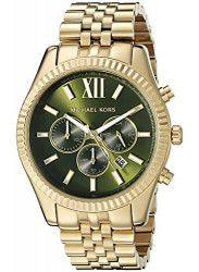 Michael Kors Men's Lexington Green Dial Gold Tone Watch MK8446