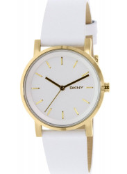 DKNY Women's Soho White Pearlized Dial White Leather Watch NY2340