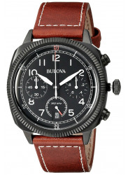 Bulova Men's Chronograph Black Dial Brown Leather Strap Watch 98B245