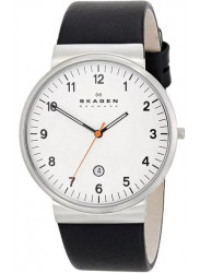 Skagen Men's Klassic White Dial Black Leather Watch SKW6024
