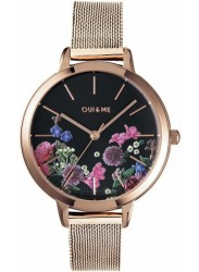 OUI&ME Women's Black Floral Dial Rose Gold Stainless Steel Watch ME010075