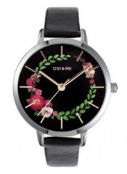 OUI&ME Women's Grande Fleurette Black Floral Dial Black Leather Watch ME010033