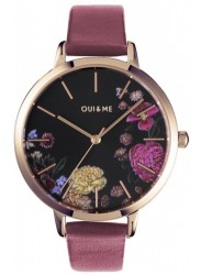 OUI&ME Women's Grande Fleurette Black Floral Dial Pink Leather Watch ME010086