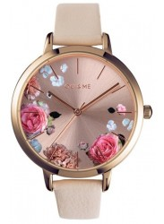 OUI&ME Women's Grande Fleurette Rose Gold Floral Dial Beige Leather Watch ME010108