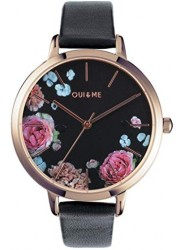 OUI&ME Women's Grande Fleurette Black Floral Dial Black Leather Watch ME010109