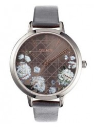 OUI&ME Women's Grande Fleurette Dark Grey Floral Dial Grey Leather Watch ME010110