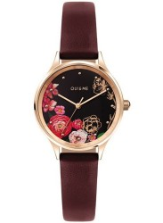OUI&ME Women's Minette Black Floral Dial Burgundy Leather Watch ME010173