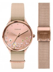 OUI&ME Women's Petite Bichette Rose Gold Floral Dial Beige Nylon Watch ME010174