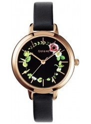 OUI&ME Women's Petite Fleurette Black Floral Dial Black Leather Watch ME010007