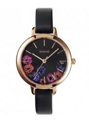 OUI&ME Women's Petite Fleurette Black Floral Dial Black Leather Watch ME010059