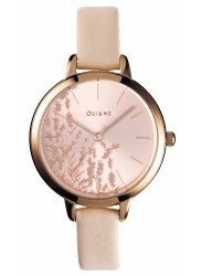 OUI&ME Women's Petite Fleurette Rose Gold Floral Dial Beige Leather Watch ME010064