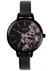 OUI&ME Women's Petite Fleurette Black Floral Dial Black Leather Watch ME010065