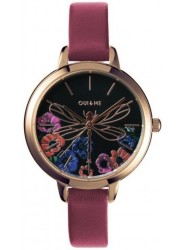 OUI&ME Women's Petite Fleurette Black Floral Dial Pink Leather Watch ME010093