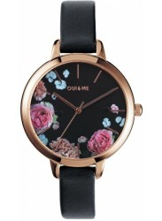 OUI&ME Women's Petite Fleurette Black Floral Dial Black Leather Watch ME010097