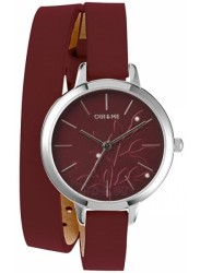 OUI&ME Women's Petite Fleurette Burgundy Dial Burgundy Leather Watch ME010133