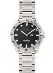 Perry Ellis Men's Deep Diver Black Sunray Dial Stainless Steel Watch 02001-02