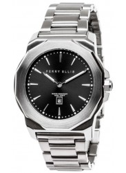 Perry Ellis Unisex Decagon Black Sunray Dial Stainless Steel Watch 08001-02