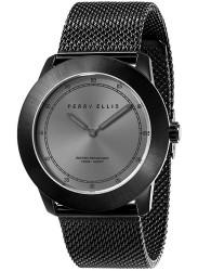 Perry Ellis Unisex New Slim Line Grey Sunray Dial Black Stainless Steel Watch 11003-04