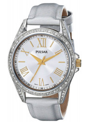 Pulsar Women's Silver Dial Silver Leather Watch PG2007