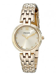 Pulsar Women's Champagne Dial Gold Stainless Steel Watch PH8126