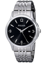 Pulsar Men's Watch Black Dial Silver Tone Watch PH9075