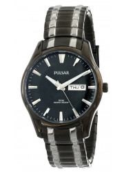 Pulsar Men's  Black Dial Two Tone Stainless Steel Watch PJ6049