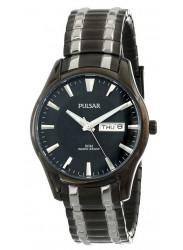 Pulsar Men's  Black Dial Two Tone Stainless Steel Watch PJ6049