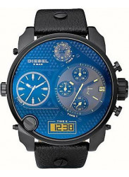 Diesel Men's S.B.A Blue Dial Digital Black Leather Watch DZ7127