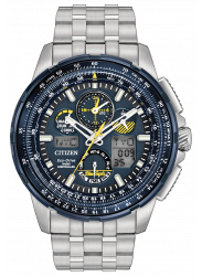 Citizen Skyhawk Men's Chronograph GMT Blue Dial Stainless Steel Watch JY8058-50L
