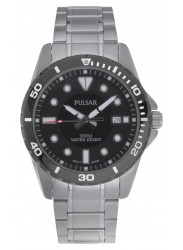 Pulsar Men's Black Dial Silver Tone Watch PS9111