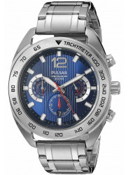 Pulsar Men's Blue Dial Chronograph Silver Tone Watch PT3629