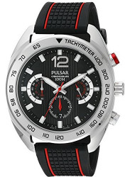 Pulsar Men's Black Dial Silicone Watch PT3633