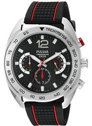 Pulsar Men's Black Dial Silicone Watch PT3633