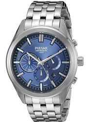 Pulsar Men's Chronograph Blue Dial Silver Watch PT3679