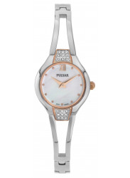Pulsar Women's Mother Of Pearl Dial Crystals Silver Tone Watch PTA502