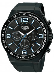 Pulsar Men's Black Dial Black Rubber Watch PT3405