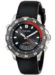 Pulsar Men's Black Dial Black Rubber Watch PVR063