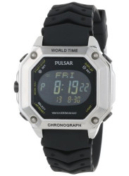 Pulsar Men's Black Dial Digital Display Rubber Watch PW3001